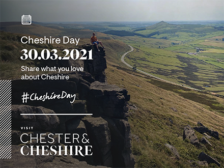 Cheshire Day banner with countryside and hills
